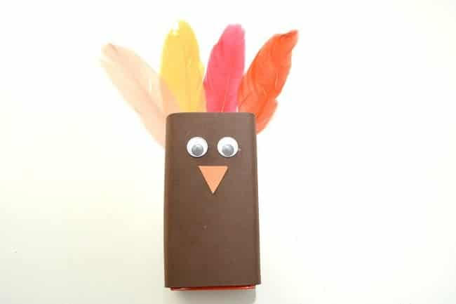 a juice box wrapped in brown paper, orange paper beak, googly eyes, and fake feathers to look like a turkey