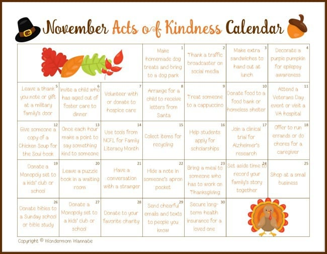 printable november acts of kindness calendar