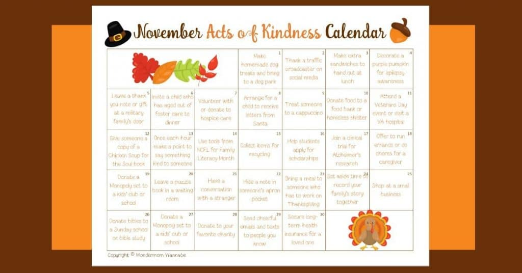 Calendar Monthly Observances : November acts of kindness calendar
