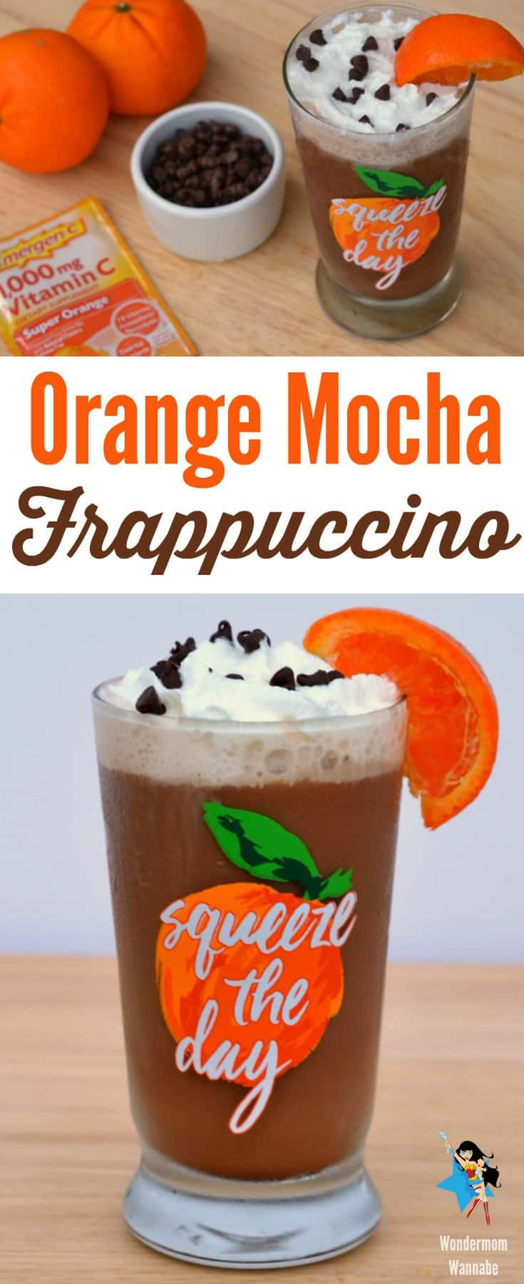 This orange mocha frappuccino is a delicious and healthy way to wake up and get energized!