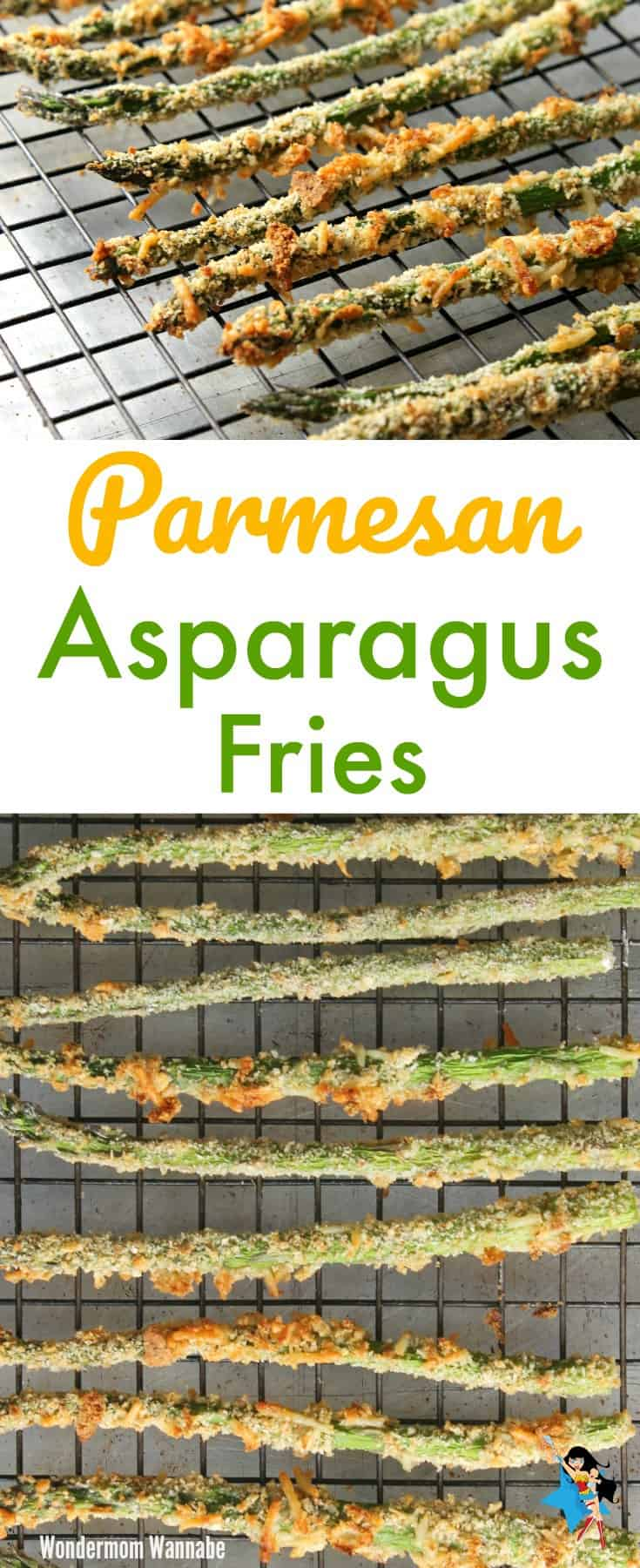 a collage of parmesan asparagus fries on a wire rack with title text reading Parmesan Asparagus Fries