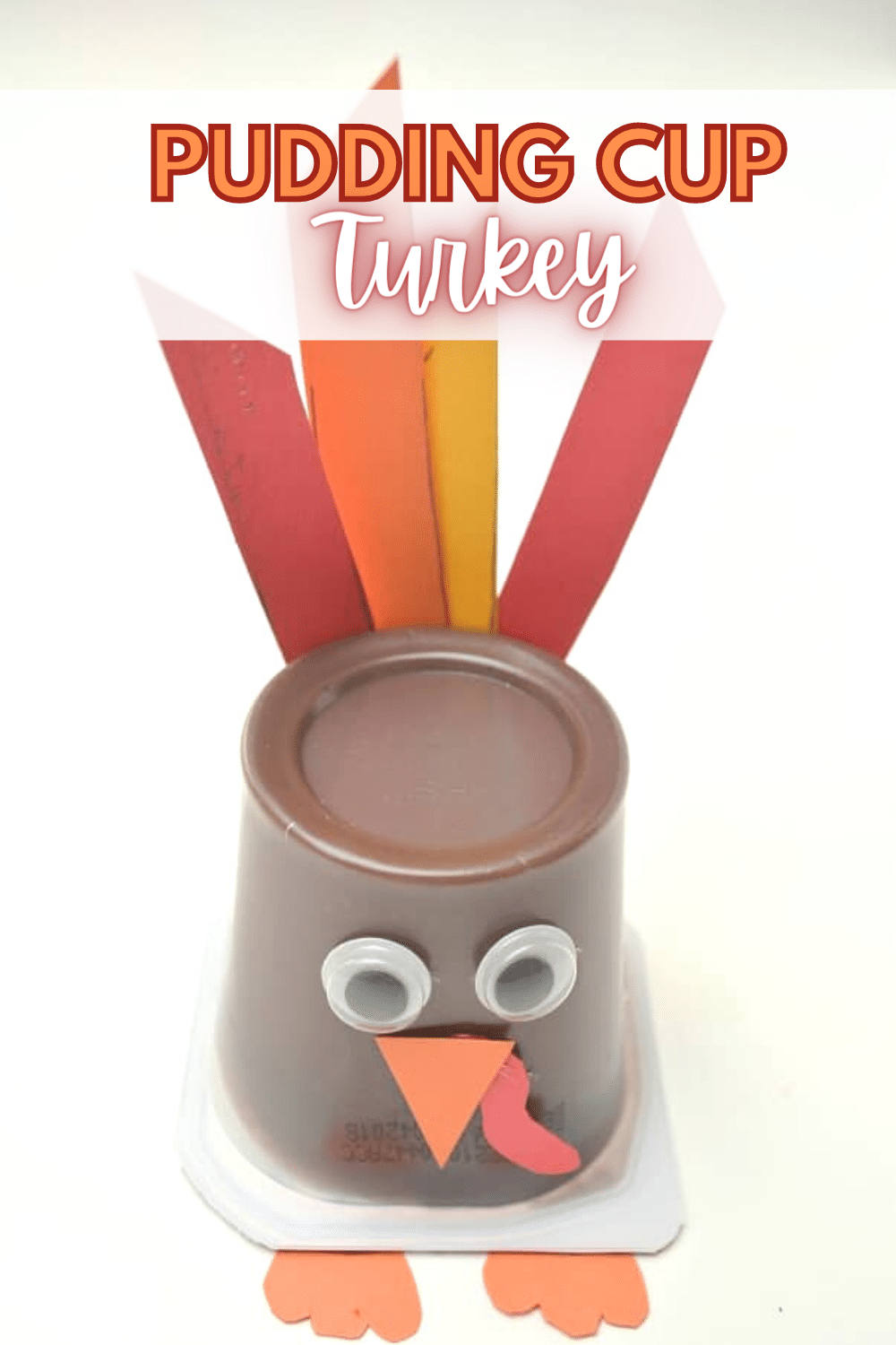 This pudding cup turkey craft is a super cute and easy way to treat your kids at Thanksgiving either in their lunches or for dessert. #turkeycraft #puddingcup #thanksgiving #forkids via @wondermomwannab