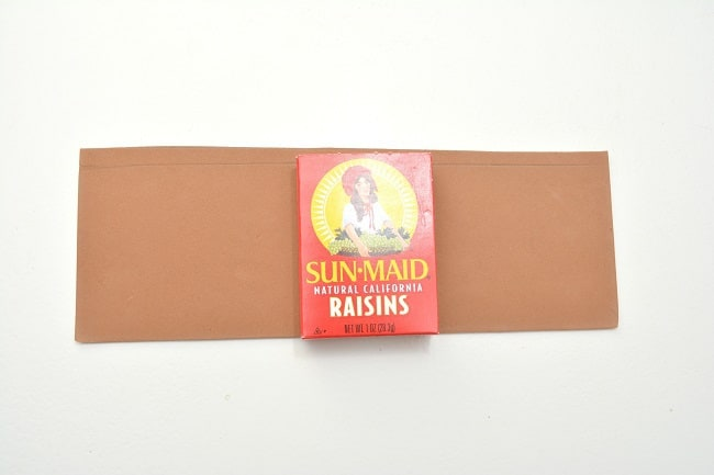 a raisin box on top of brown cardstock on a white background