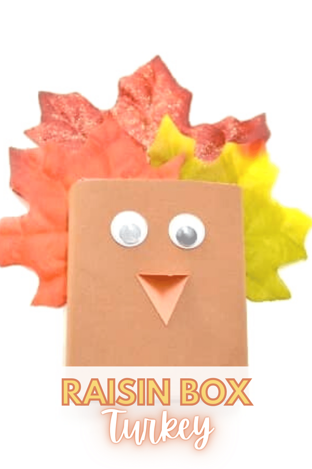 This raisin box turkey is a fun way to transform an ordinary snack into a fun treat that can double as a decoration for the kids table at Thanksgiving. #thanksgiving #craft #forkids #turkeycraft via @wondermomwannab
