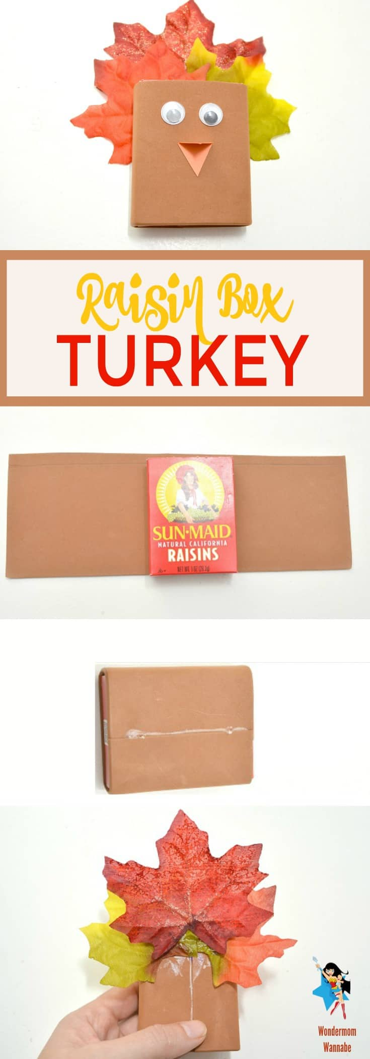 a collage of how to make a raisin box turkey craft with title text reading Raisin Box Turkey