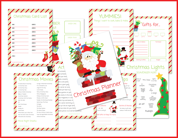printable christmas planner on a white background with a red frame around it