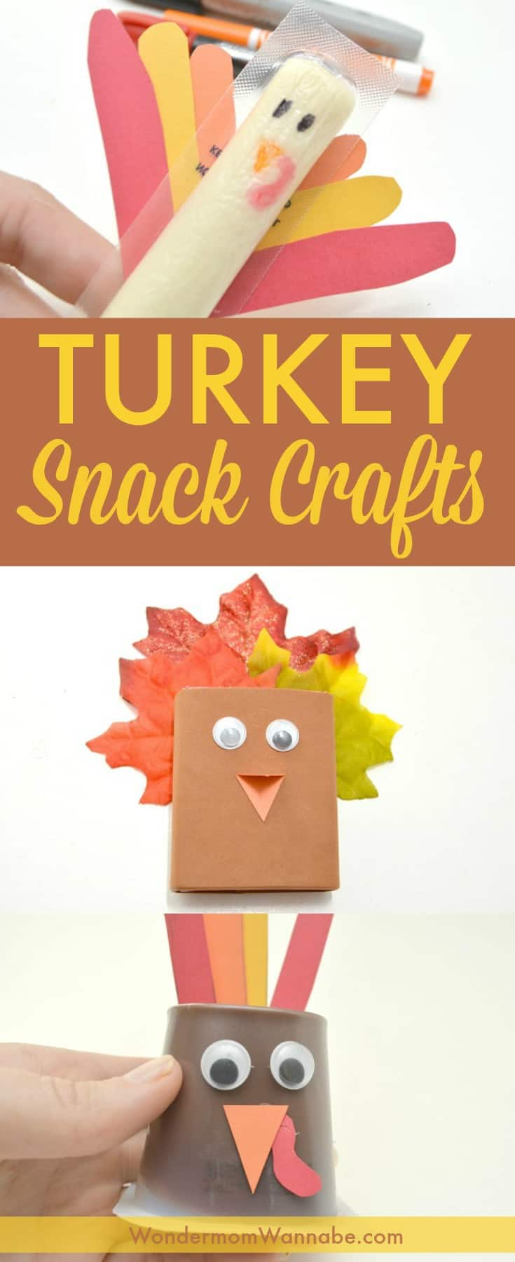 These turkey-themed Thanksgiving snacks are such a fun way to get kids excited about Thanksgiving! Put them in your kids' lunches leading up to the big day. #thanksgiving #turkey #snacks #forkids via @wondermomwannab