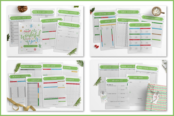 a collage of printables for the most wonderful time of the year christmas planner