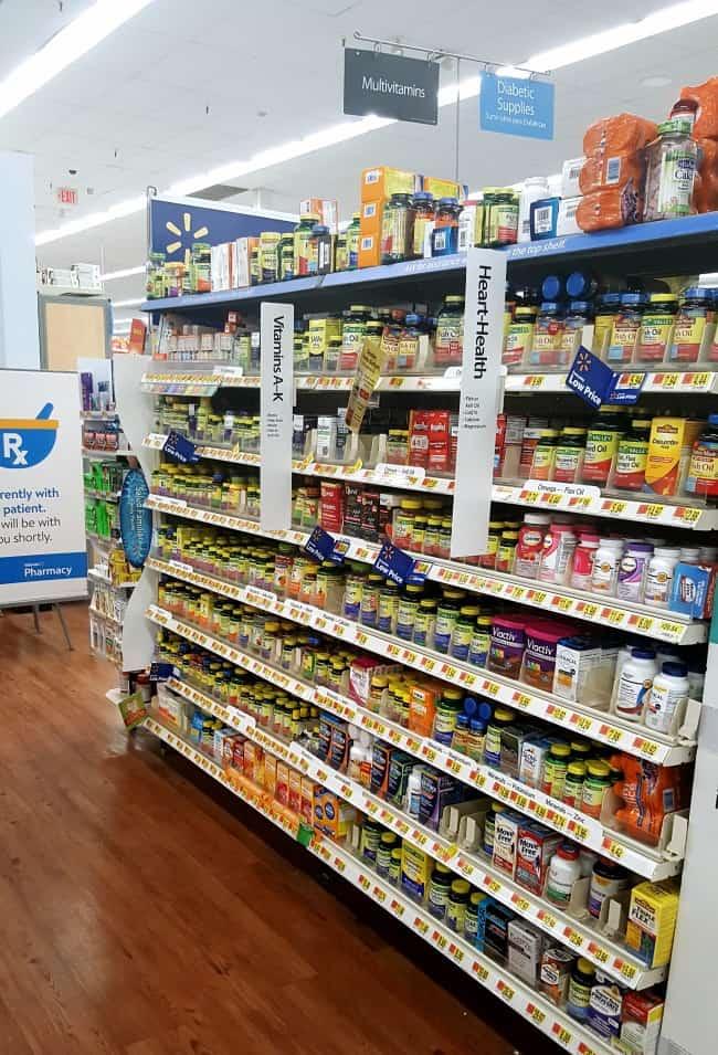 the vitamin aisle in Walmart
