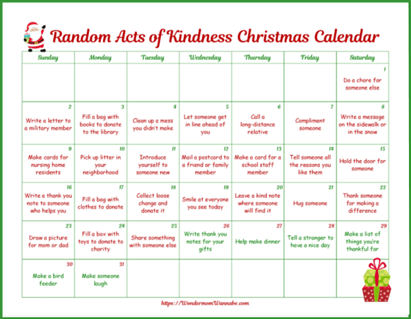 printable random acts of kindness Christmas calendar