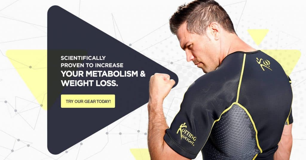 a man wearing a neoprene sauna suit flexing his arm next to text reading Scientifically proven to increase your metabolism & weight loss try our gear today