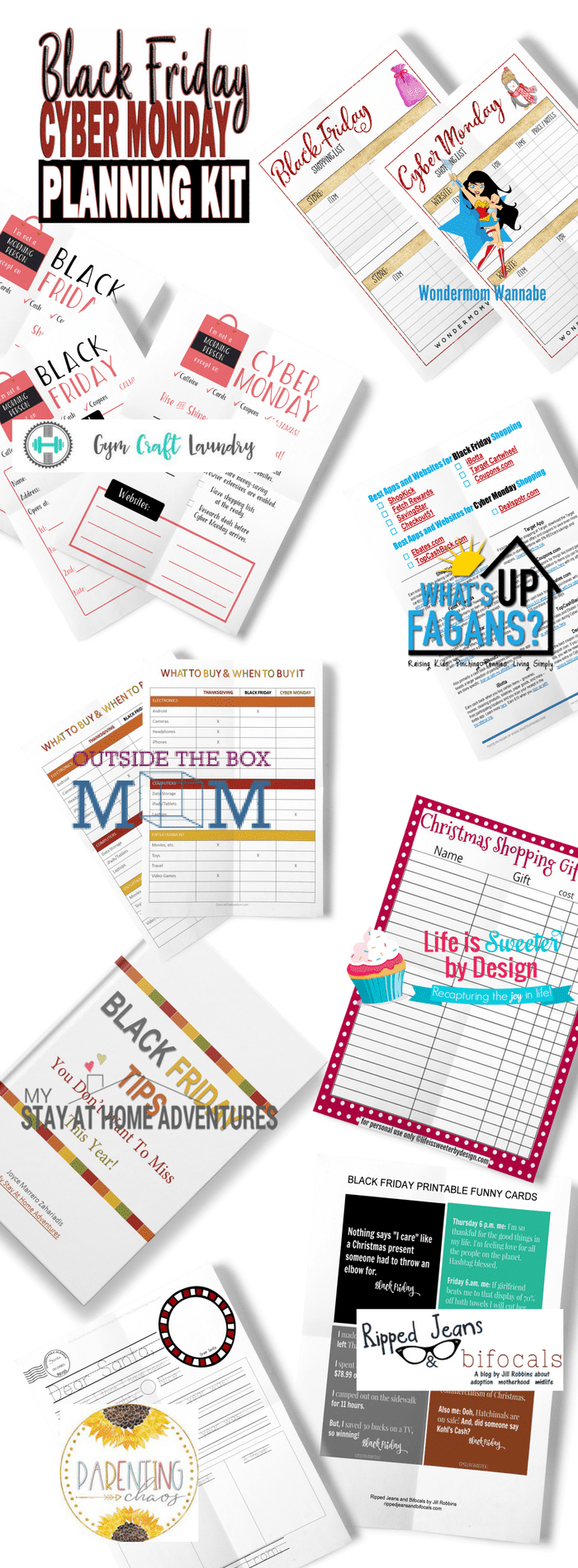 printables with title text reading Black Friday Cyber Monday Planning Kit
