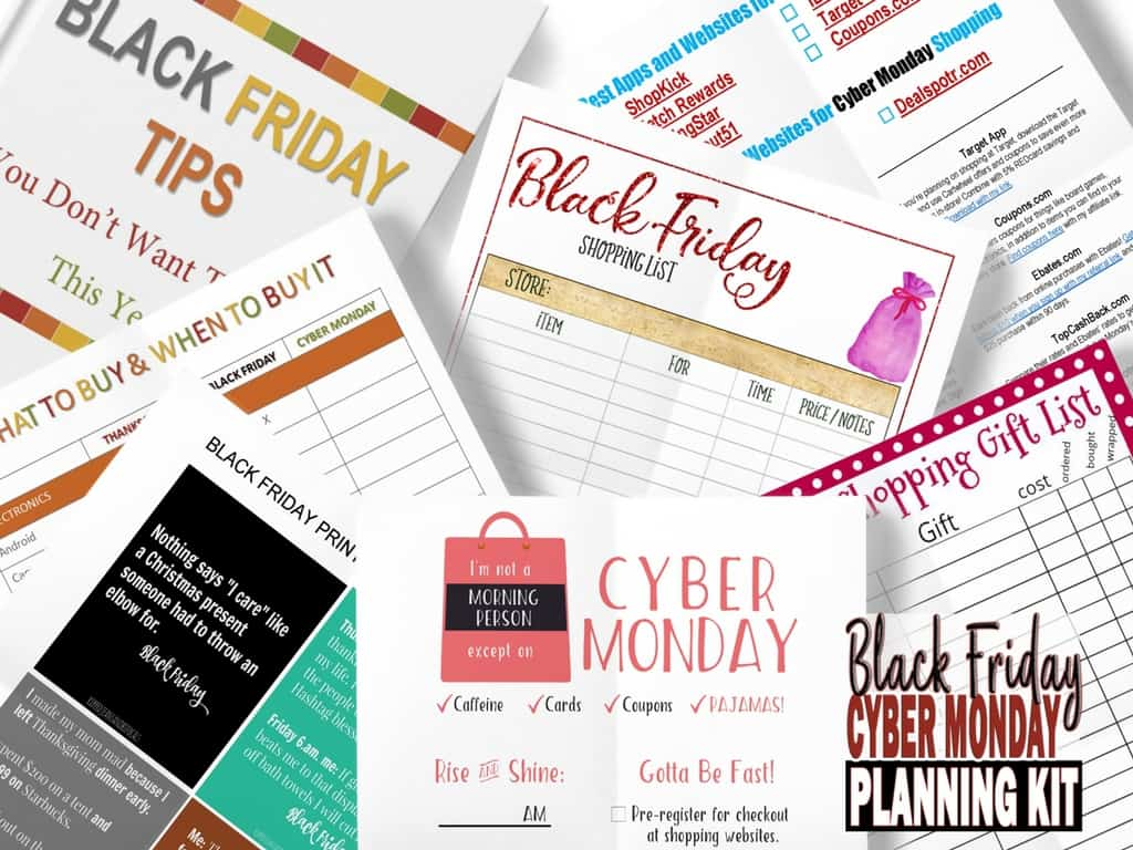 printables for the Black Friday Cyber Monday Planning Kit