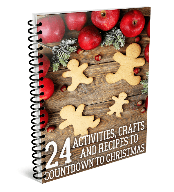 a spiral book with gingerbread men and apples on the cover with title text reading 24 Activities, Crafts and Recipes to Countdown to Christmas