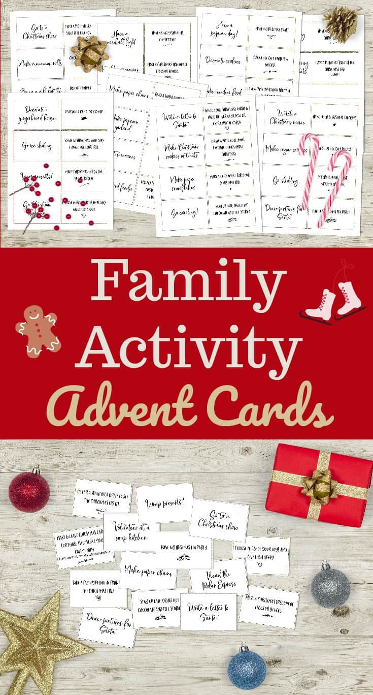 a collage of printables on a wood background with bows, ornaments and presents with title text reading Family Activity Advent Cards