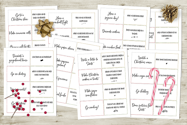 printable list of ideas for Christmas related activities with a gold bow, pinecone, candy canes and holly berries on the printables on a wood background