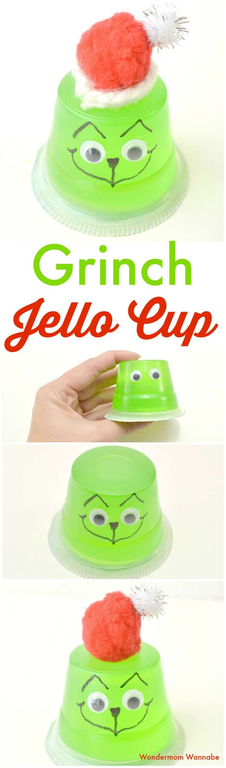 a collage of the stages of making a jello cup look like the grinch with title text reading Grinch Jello Cup