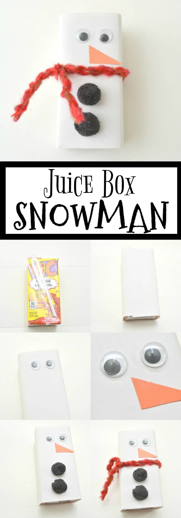 A few simple craft supplies and a juice box is all it takes to make this Juice Box Snowman that will delight your child. It's fast and easy to make too! #forkids #snowman #craft #diy via @wondermomwannab