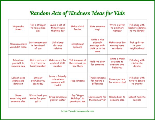 printable calendar with daily random acts of kindness ideas for kids