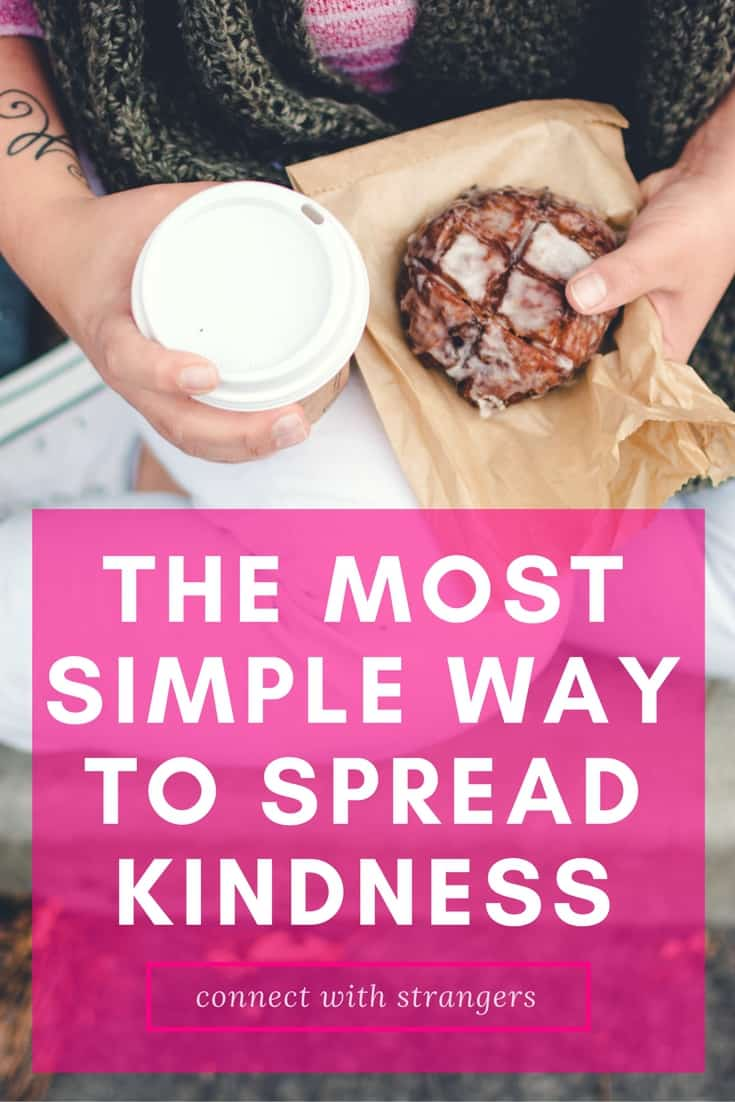 a lady holding a cup of coffee and a pastry with title text reading The Most Simple Way to Spread Kindness