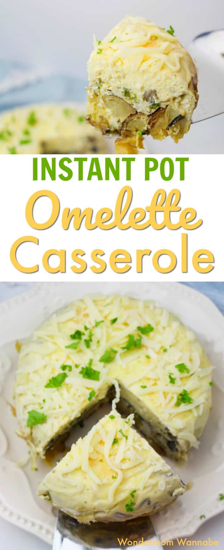 All the yummy flavors of an omelette are packed into this instant pot omelette casserole. So easy! #instantpotrecipes #pressurecooking #omelette #breakfast via @wondermomwannab