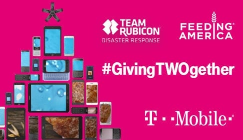 graphics of different phones and tablets on a pink background with text reading team rubicon, feeding America, giving twogether, t mobile