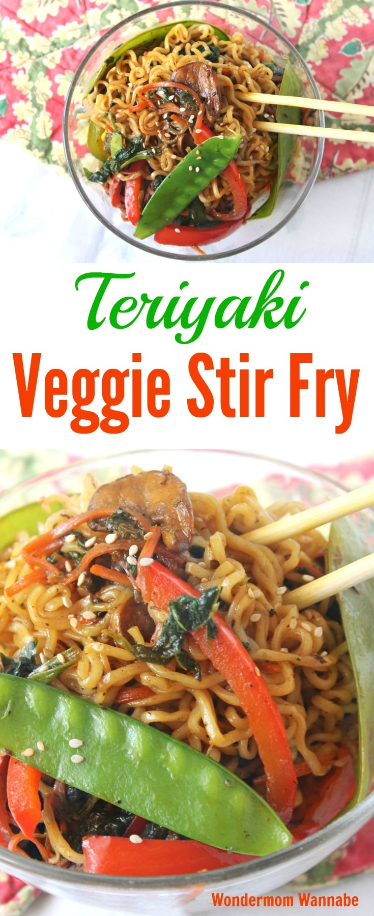 This Teriyaki Veggie Stir Fry is an easy and inexpensive meatless meal you can whip up in about 15 minutes. It's a vegetarian dish everyone will love! #stirfry #meatless #veggie #teriyaki via @wondermomwannab