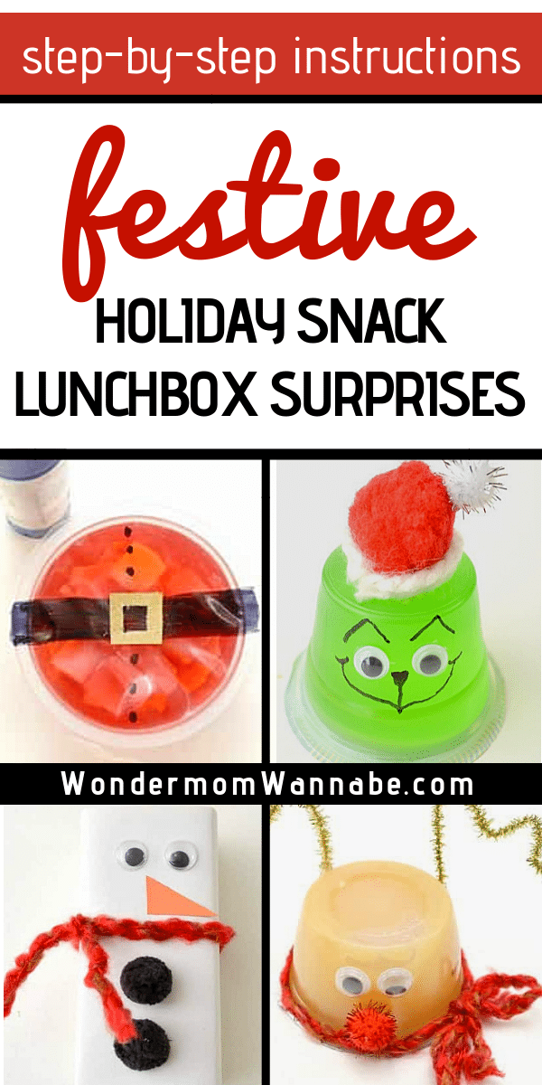 Transform ordinary lunch box items into fun holiday snacks with these simple craft ideas that take just minutes to do and just a few common craft supplies. #lunchbox #holiday #snacks #craftideas via @wondermomwannab