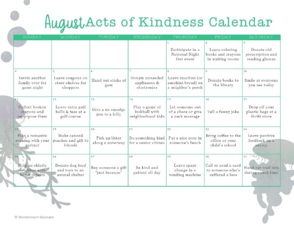 printable August Acts of Kindness Calendar