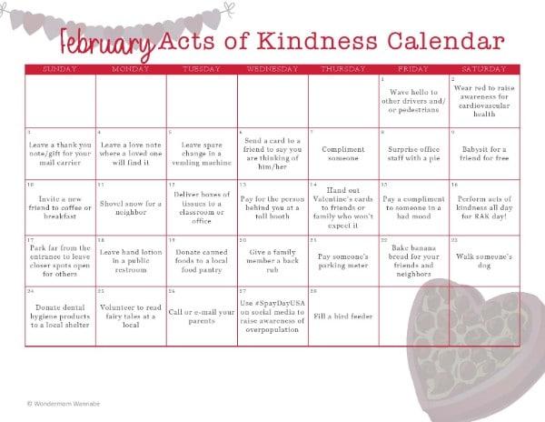 February 2019 Kindness Calendar February Acts of Kindness Calendar