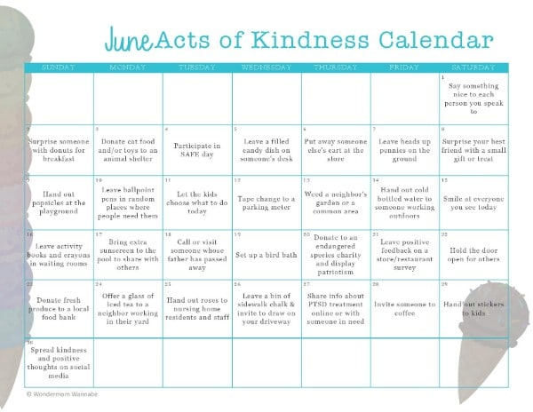 printable June Acts of Kindness Calendar