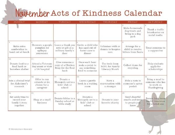 printable November Acts of Kindness Calendar
