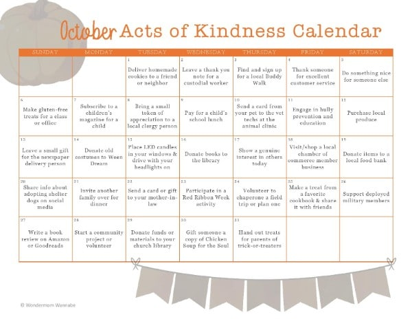 printable October Acts of Kindness Calendar