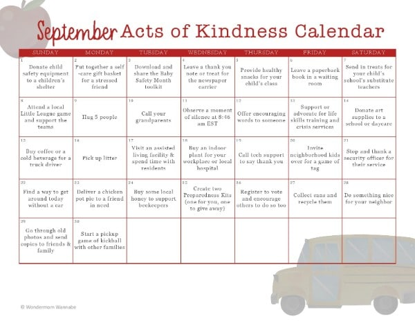 printable September Acts of Kindness Calendar