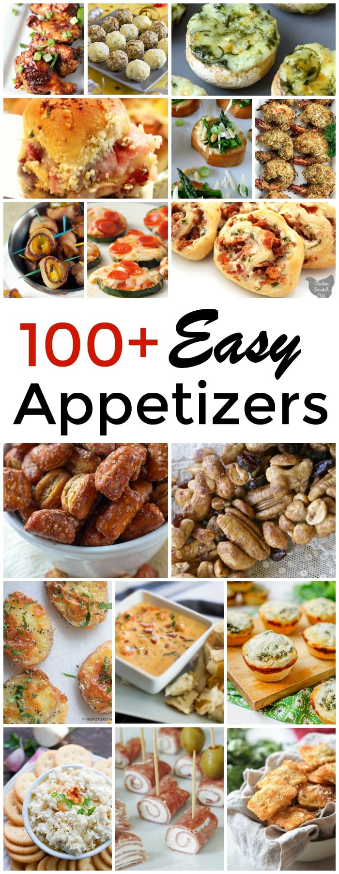 a collage of several pictures of different appetizers with title text reading 100+ Easy Appetizers