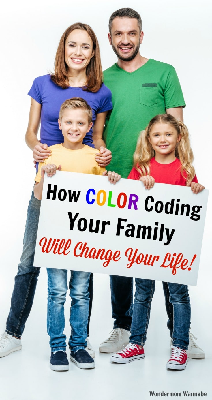a mom and dad, boy and girl on a white background holding a sign with text that reads How Color Coding Your Family Will Change Your Life