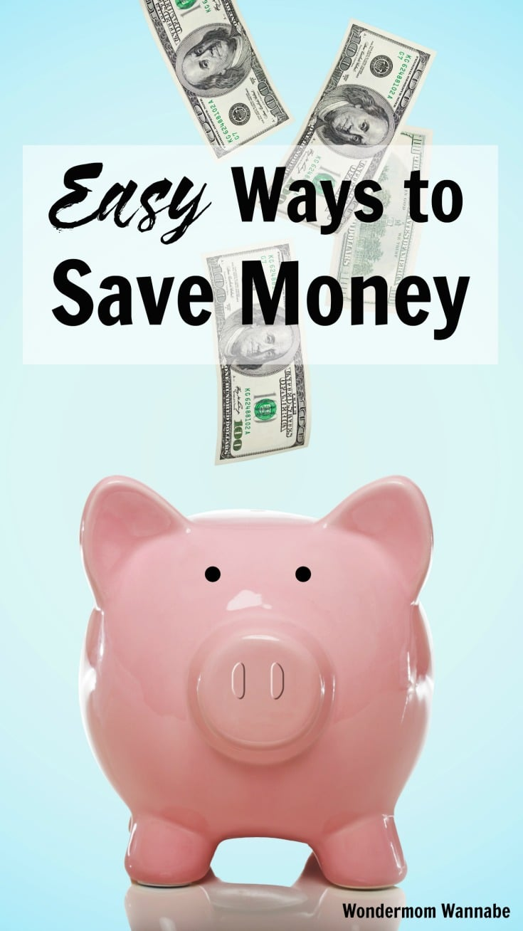 hundred dollar bills falling down towards a pink piggy bank on a blue background with title text reading Easy Ways to Save Money