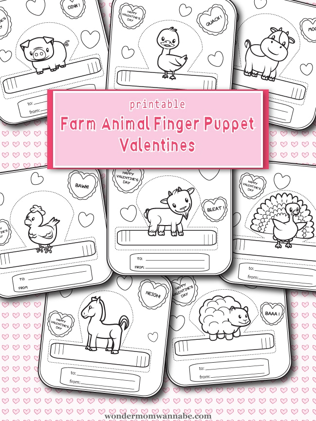 These farm animal Valentine finger puppets are adorable and so much fun for kids to decorate and play with! #printable #Valentines