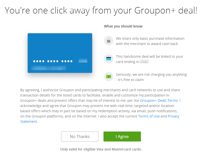 a screenshot of claiming a deal on Groupon with title text reading You're one click away from your Groupon+ deal