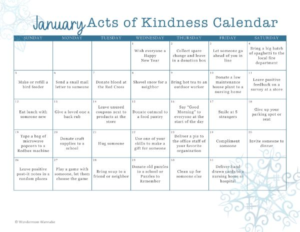 printable January Acts of Kindness Calendar