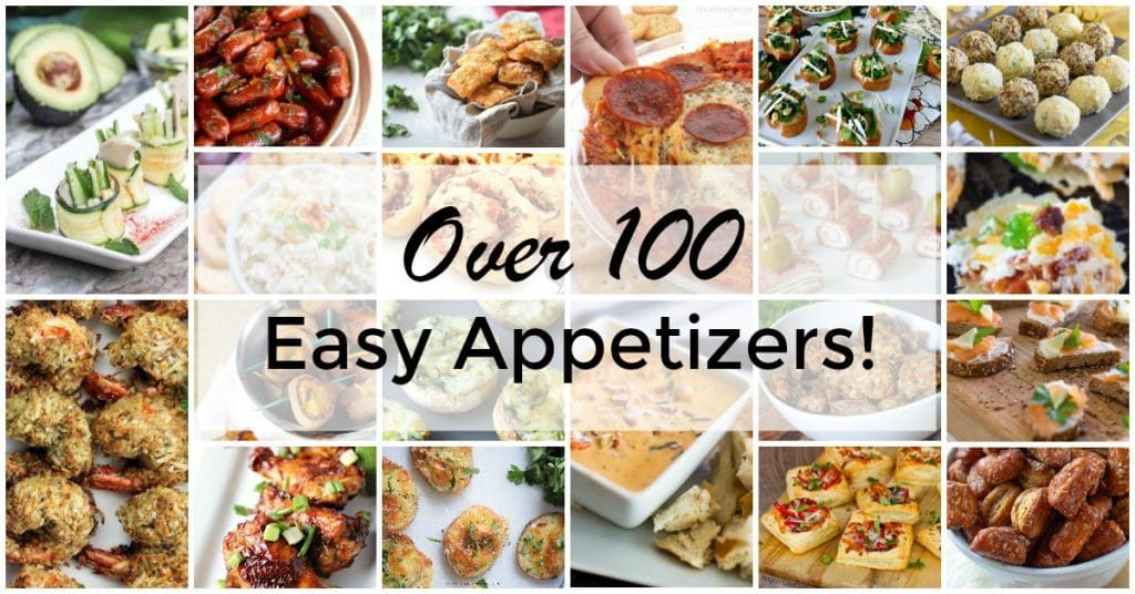 a collage of 20 different appetizers with title text reading Over 100 Easy Appetizers