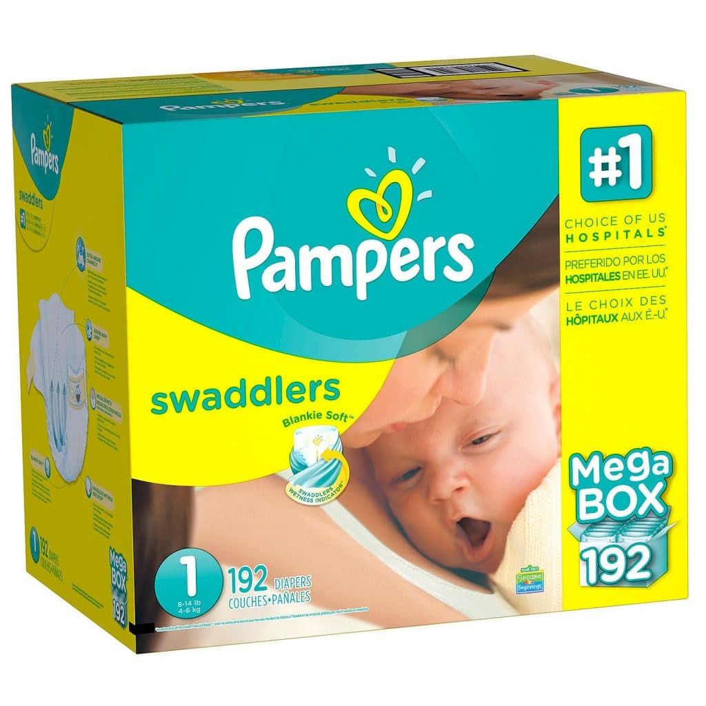 a box of Pampers Swaddlers