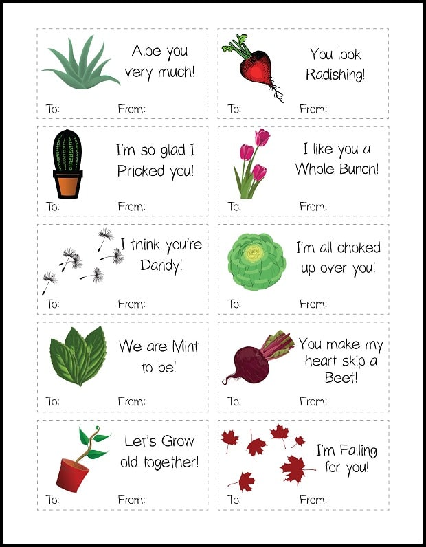 Plant-Themed Printable Valentines
