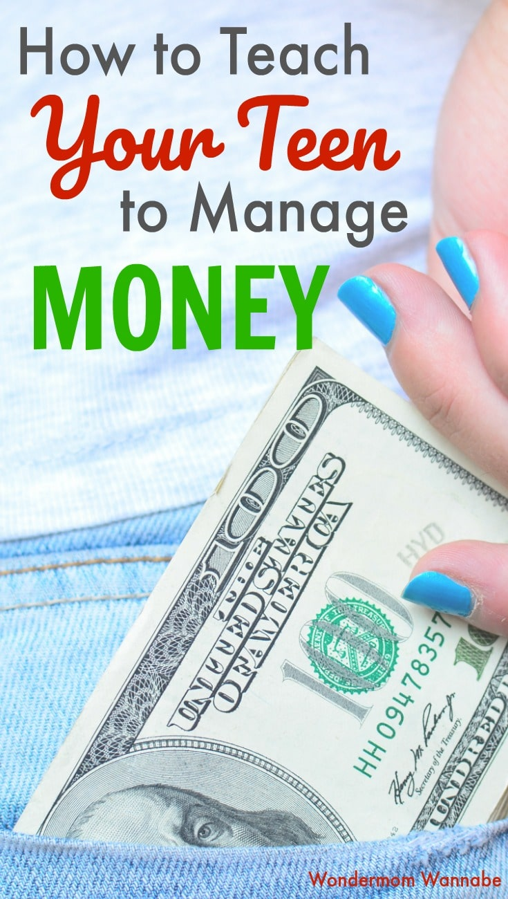 a teen's hand with blue painted nails putting a one hundred dollar bill into her jeans pocket with title text reading How to Teach Your Teen to Manage Money