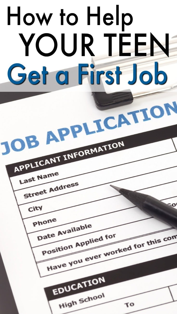 a job application with a pen on it on a clipboard with title text reading How to Help Your Teen Get a First Job