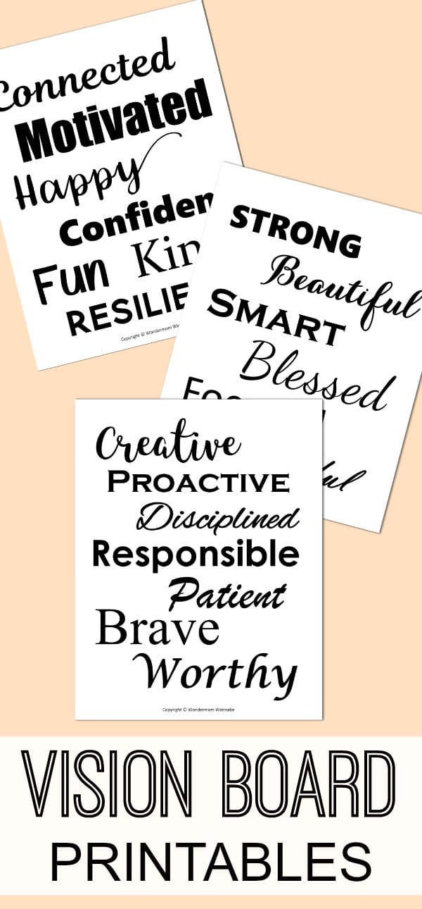 These vision board printables are perfect for adding the words to describe the ideal version of you to your vision board. #visionboard #printables via @wondermomwannab