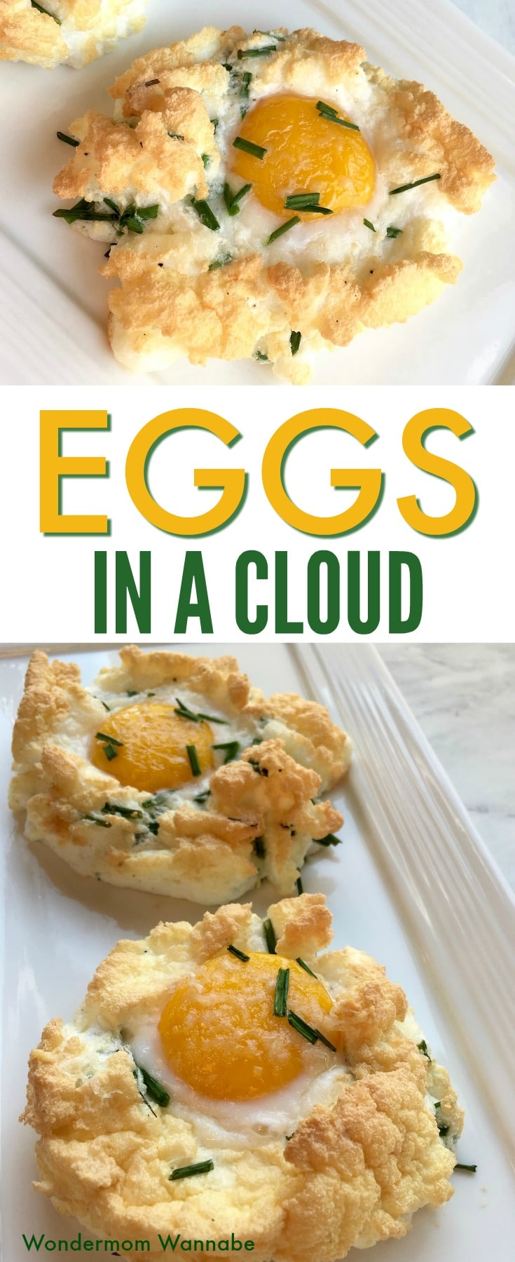 a collage of cloud eggs on a white tray with title text reading Eggs In A Cloud