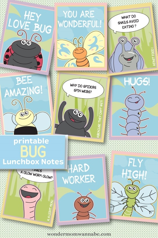Cute critter printable lunch notes