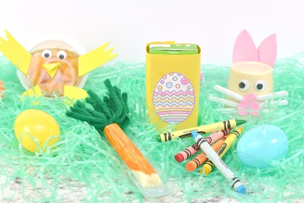 four different Easter snack craft ideas on fake grass