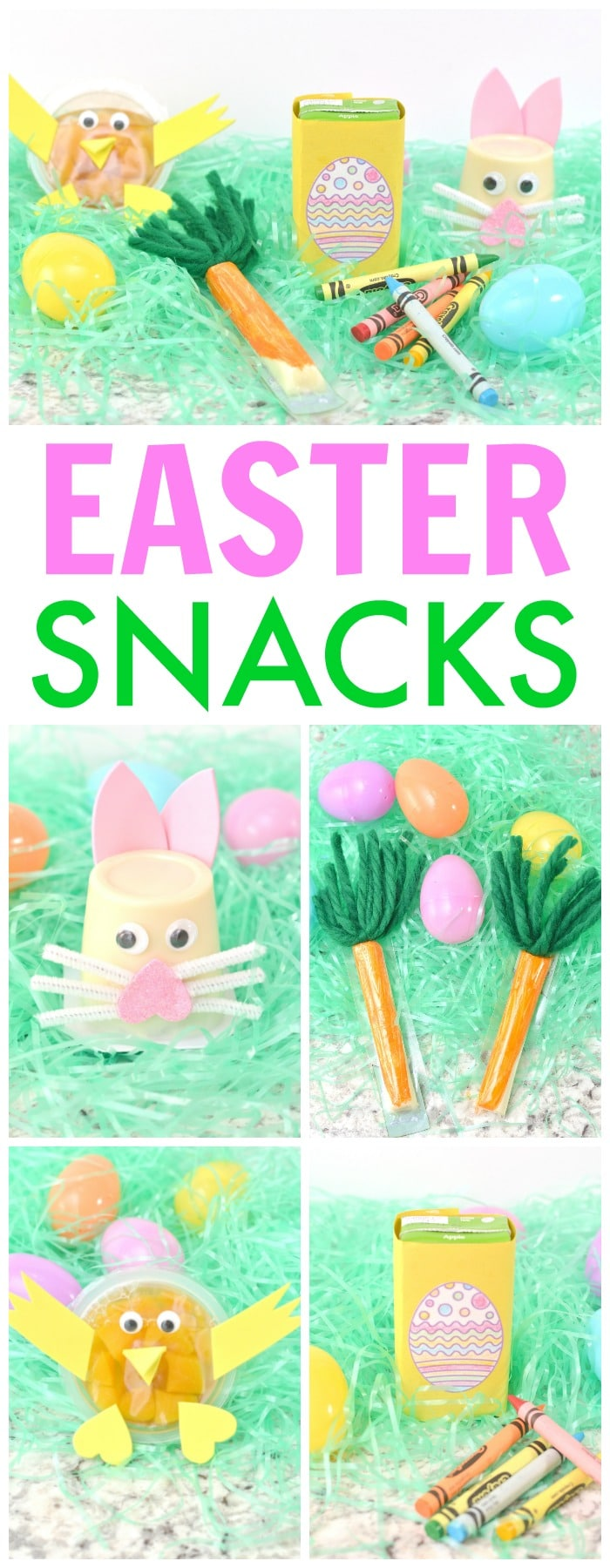 a collage of five different Easter crafts made out of snack food with title text reading Easter Snacks